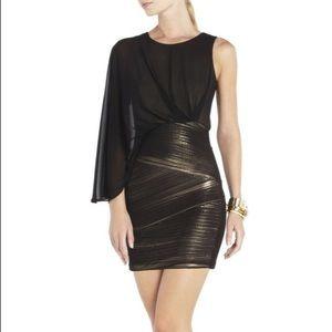 BCBG Black/Gold One Sleeve Mini Dress